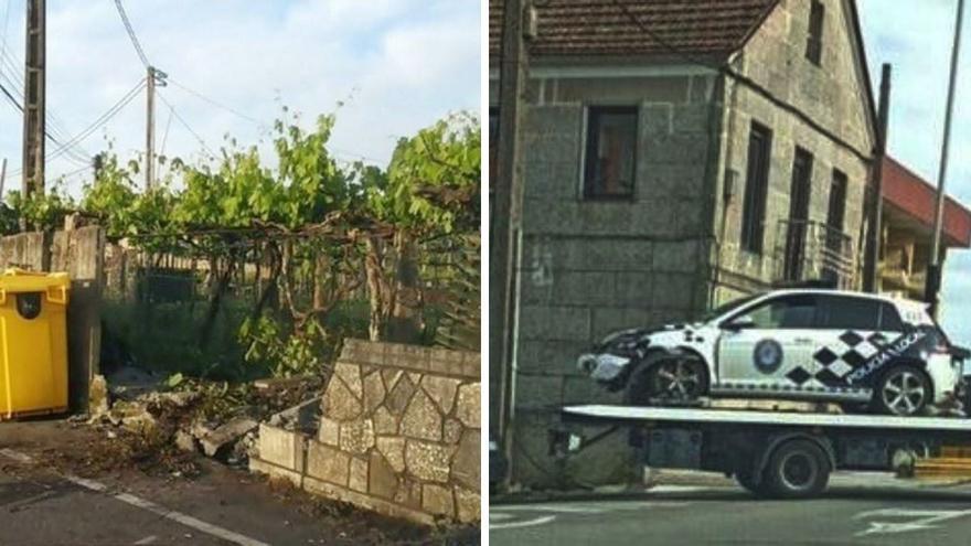 Una patrulla de la Policía Local de O Porriño choca contra un muro durante una persecución