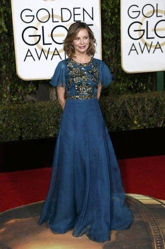 Calista Flockhart arrives at the 73rd Golden Globe Awards in Beverly Hills
