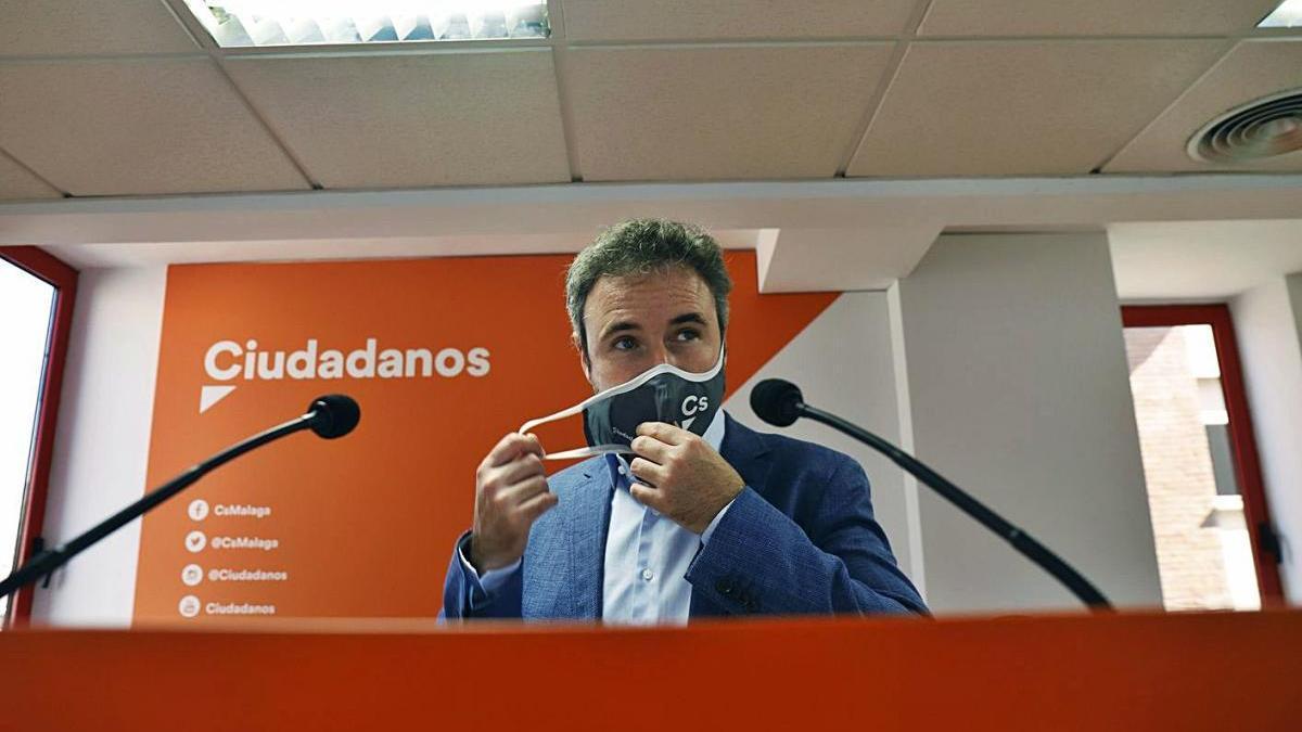 Guillermo Díaz, durante una rueda de prensa en la sede malagueña de Cs.