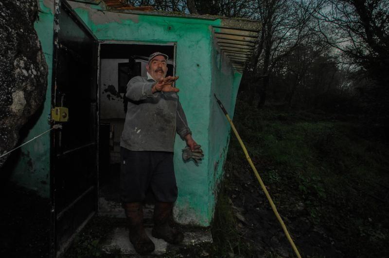 El arriesgado trabajo en las pesqueiras del Ulla.