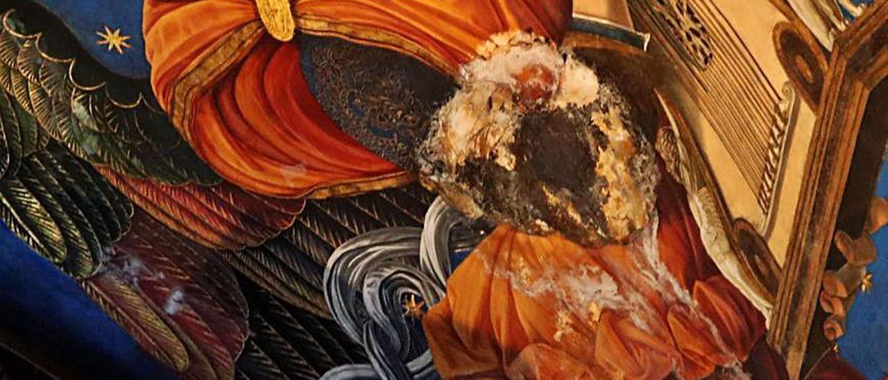 Detalle de las humedades en los frescos.   M.A.MONTESINOS
