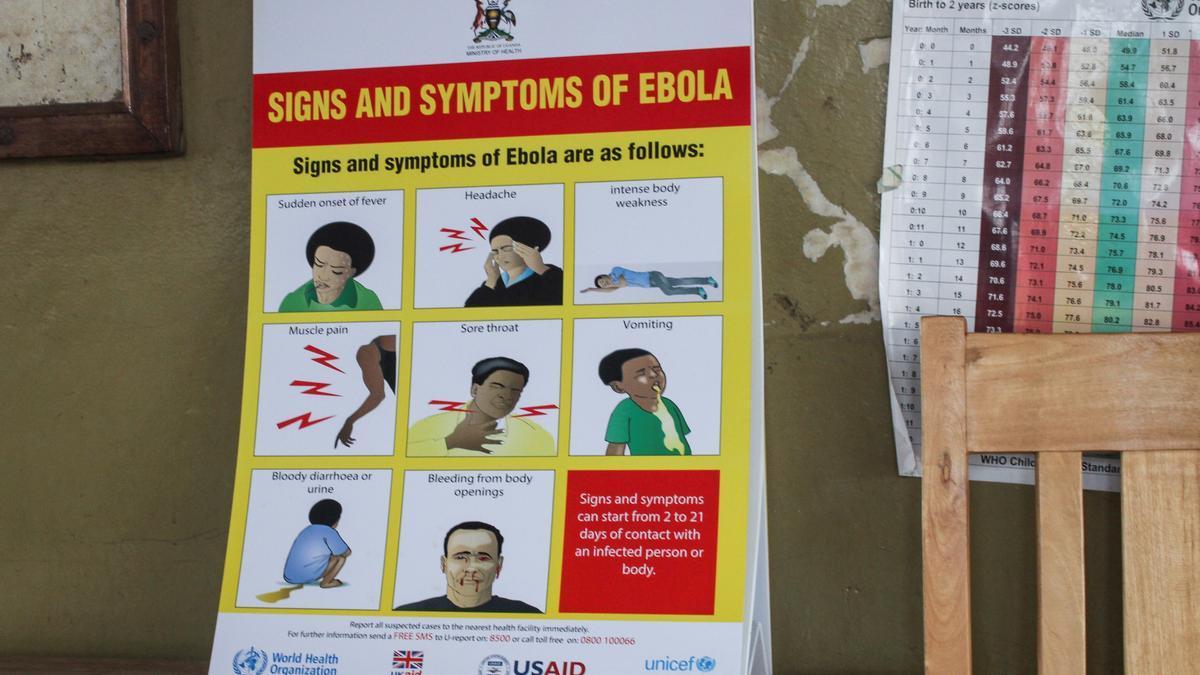 Cartel de advertencia sobre el ébola en la República Democrática del Congo.