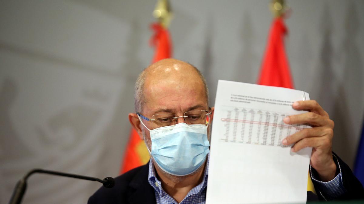 El vicepresidente Igea durante la rueda de prensa de ayer.