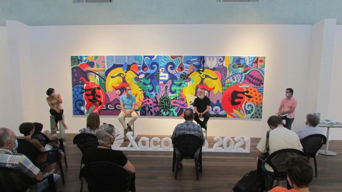 La presentación del catálogo 'Blanquísima su presencia, obra 1995-2020' esta mañana en el Museo del Mar, Vigo / FDV
