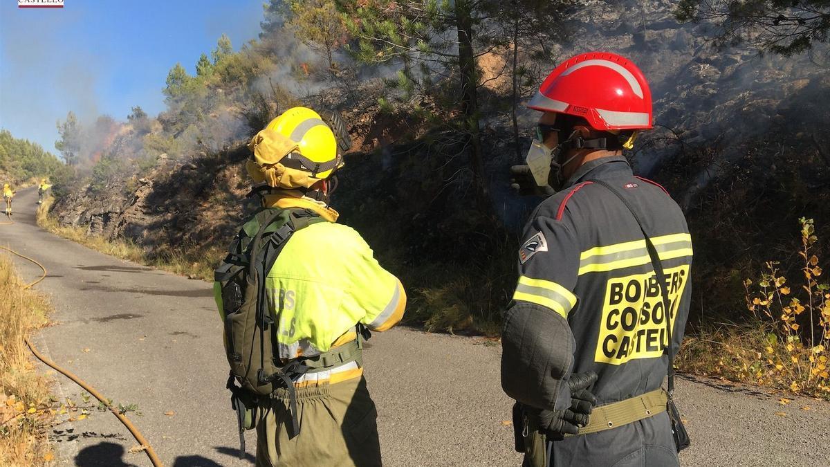 Los profesionales combaten un incendio en Bejís, en una zona montañosa próxima a Artesa en 2020.
