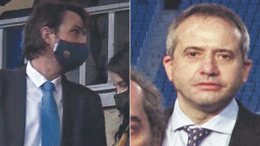 El periodista manresà Jordi Finestres i el directiu olianès Àngel Riudalbas, en primera línia del Barça