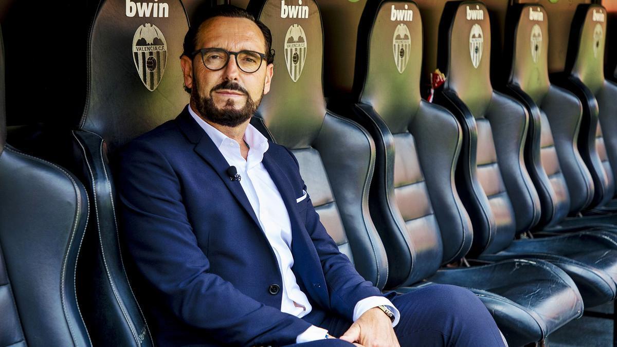 Bordalás posa en el banquillo del  Valencia CF, en Mestalla.  vcf