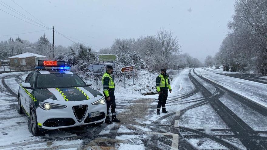 Nieve en las carreteras de Ourense