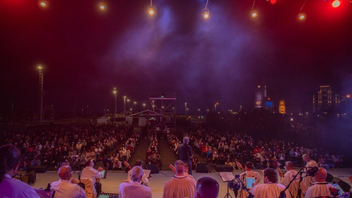 Imagen del espacio cultural estable durante el concierto de Los Sabandeños y Pedro Guerra, el domingo.