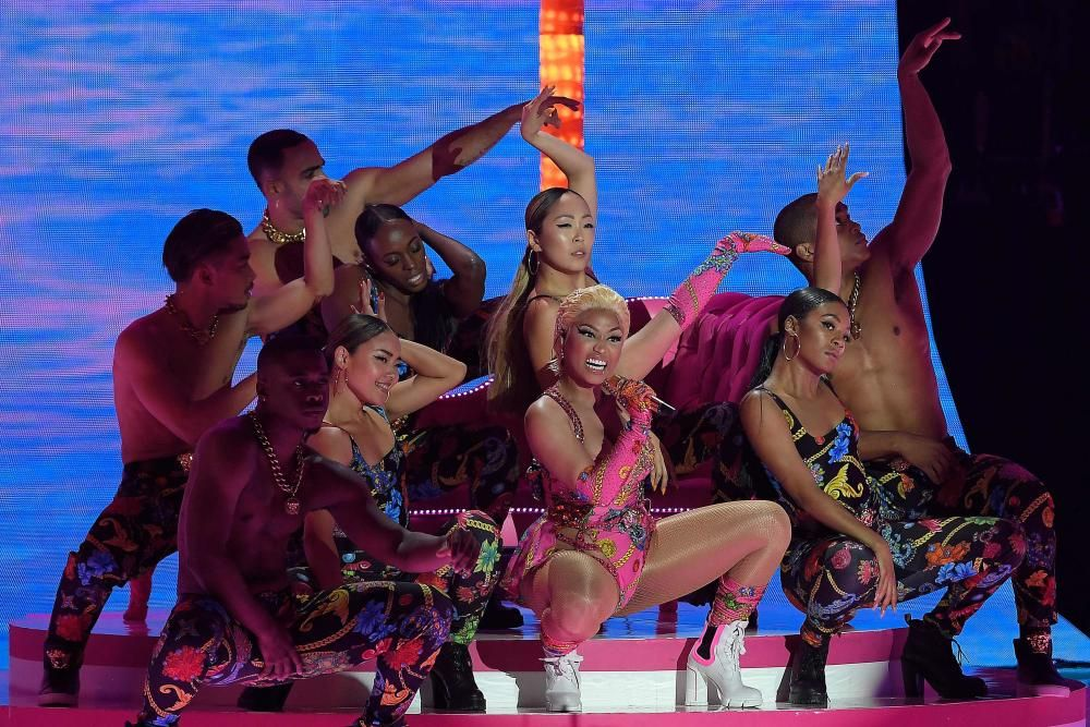 Trinidadian-US rapper Nicki Minaj performs during the MTV Europe Music Awards at the Bizkaia Arena in the northern Spanish city of Bilbao on November 4, 2018. (Photo by LLUIS GENE / AFP)