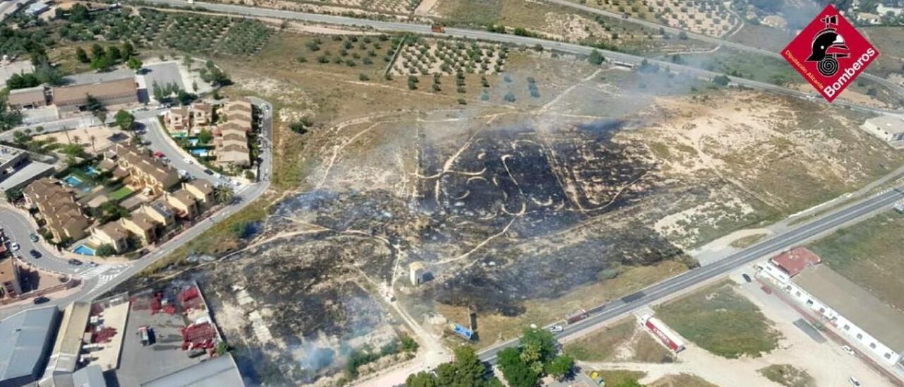Vista aérea de la superficie quemada en el incendio de Monóvar