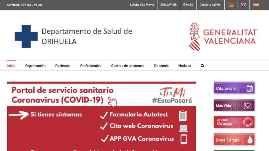 El departamento de salud de Orihuela estrena página web