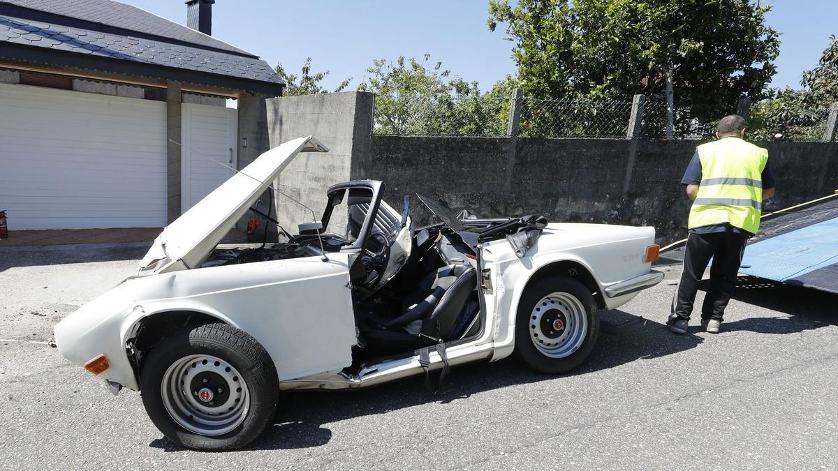 Así quedó el coche de Paz Andrade tras su accidente mortal en Gondomar.
