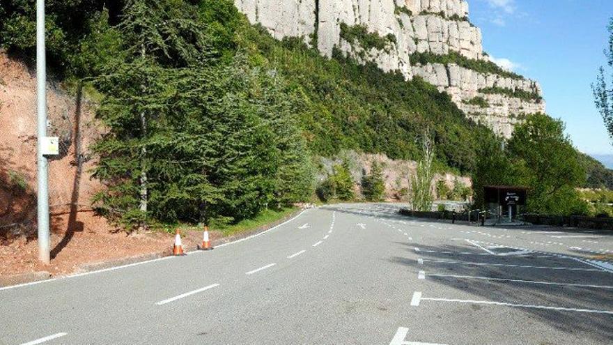 El monestir de Montserrat inicia les obres de millora de la protecció dels talussos de l'aparcament