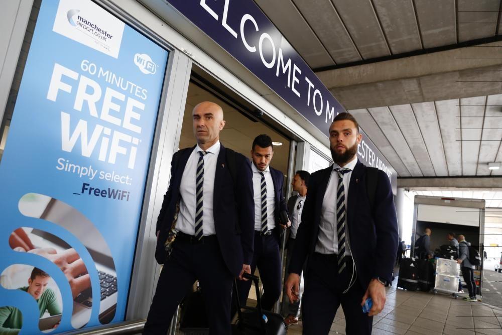 Llegada del Celta al aeropuerto de Manchester