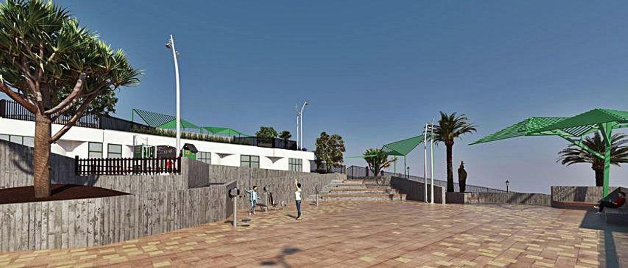 Infografía de la plaza central que presentará el parque Nicolás Quesada de Mogán después de su reforma.