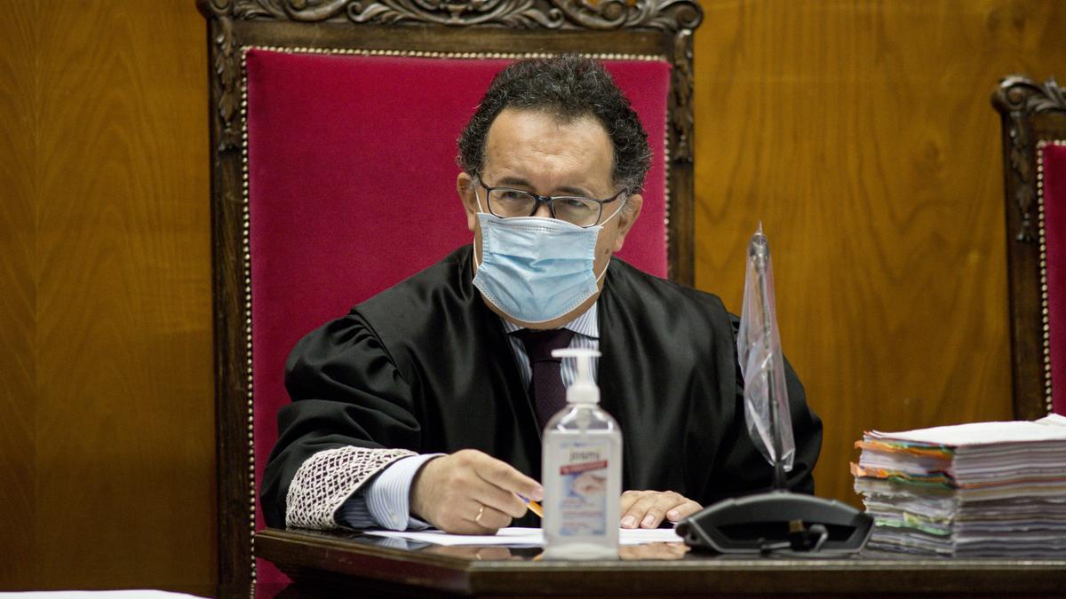 El magistrado Antonio Piña, durante un juicio en la Audiencia Provincial de Ourense.