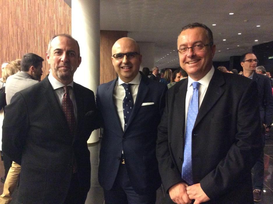 Los empresarios Perfecto Palacio, Miguel Quintanilla y el redactor Pedro Cerrada