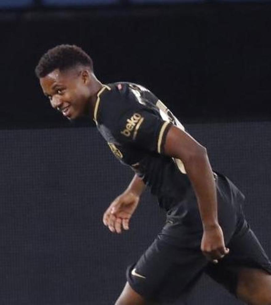 Ansu Fati celebra su gol ante el Celta de Vigo.
