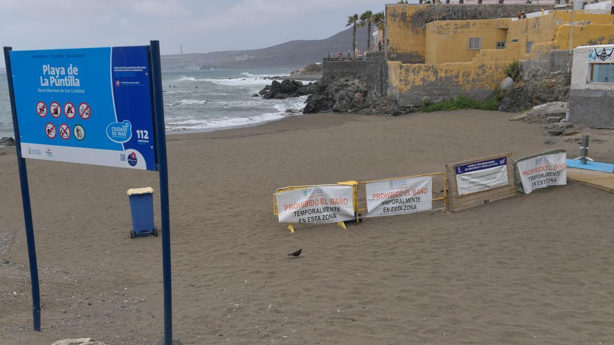 La Playa de La Puntilla, durante el cierre de comienzos de mes.
