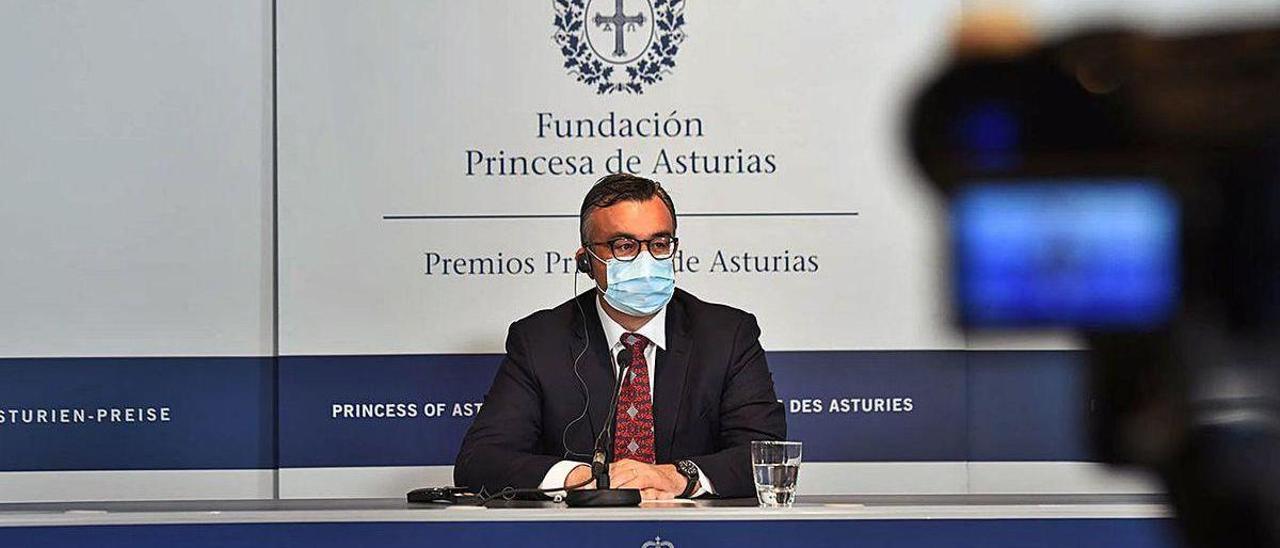 Emmanuel Candès, durante la rueda de prensa telemática retransmitida en la mañana de ayer desde el hotel de la Reconquista de Oviedo.