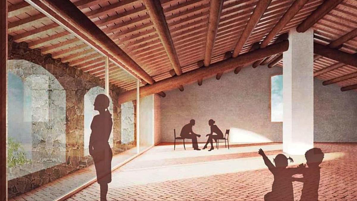 Imatge virtual de com podria quedar rehabilitat un dels espais interiors de Ca l'Espardenyer