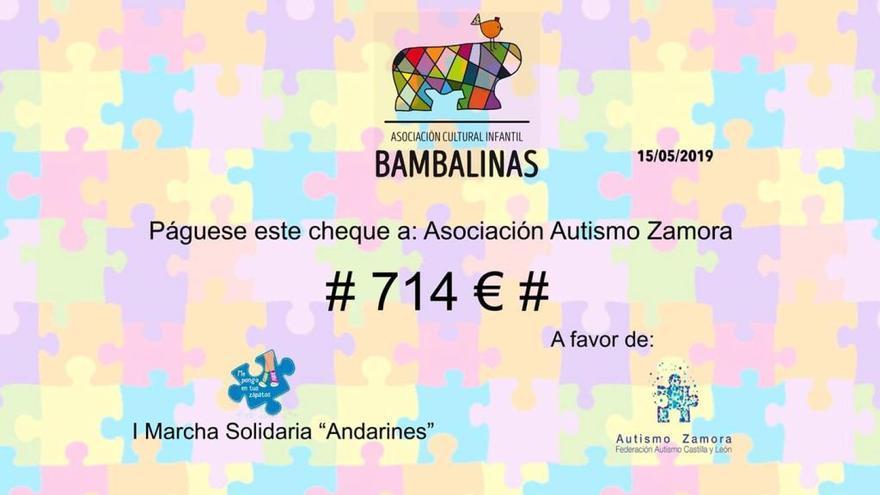Cheque de 714 euros entregado por la asociación cultural infantil Bambalinas de Toro a Autismo Zamora gracias a su primera marcha 'Andarines'.