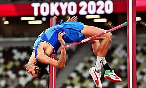 El italiano Gianmarco Tamberi, en Tokio 2020.