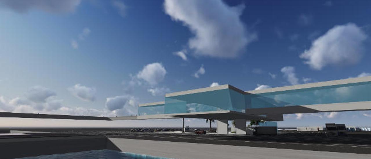 Las pasarelas de la terminal de Naviera Armas.