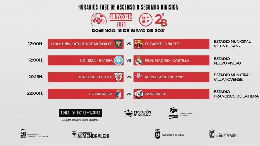 Play-off a Segunda  A | Cambian la hora del Ibiza - Castilla ;  el Zamora CF, a la espera