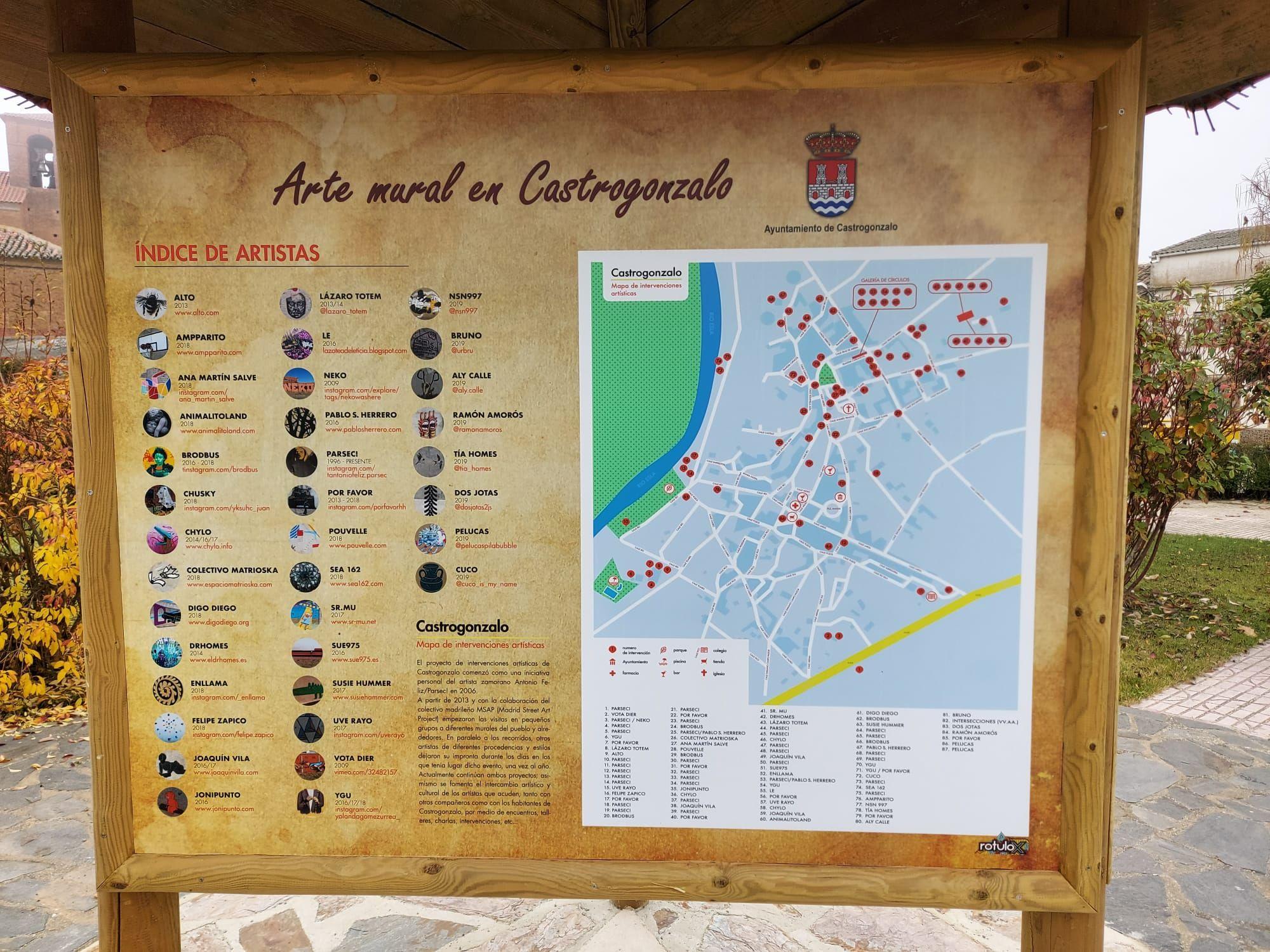 Listado con mapa callejero de las obras de arte urbano existentes en toda la localidad.