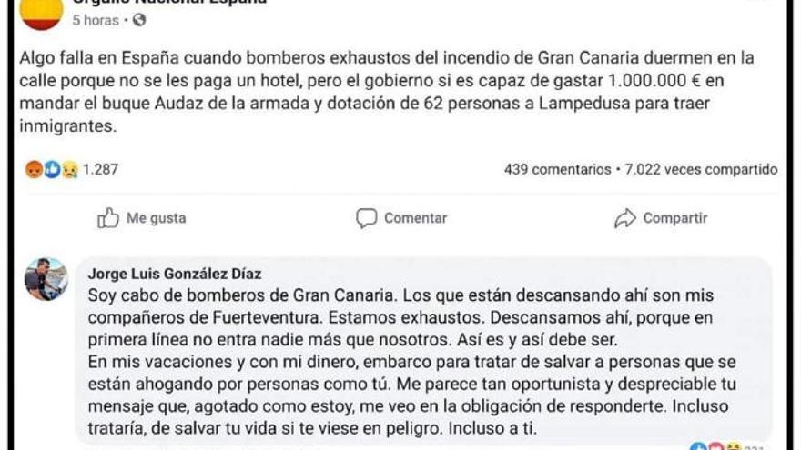 Zasca de un cabo canario a un comentario xenófobo relacionado con el incendio de Gran Canaria