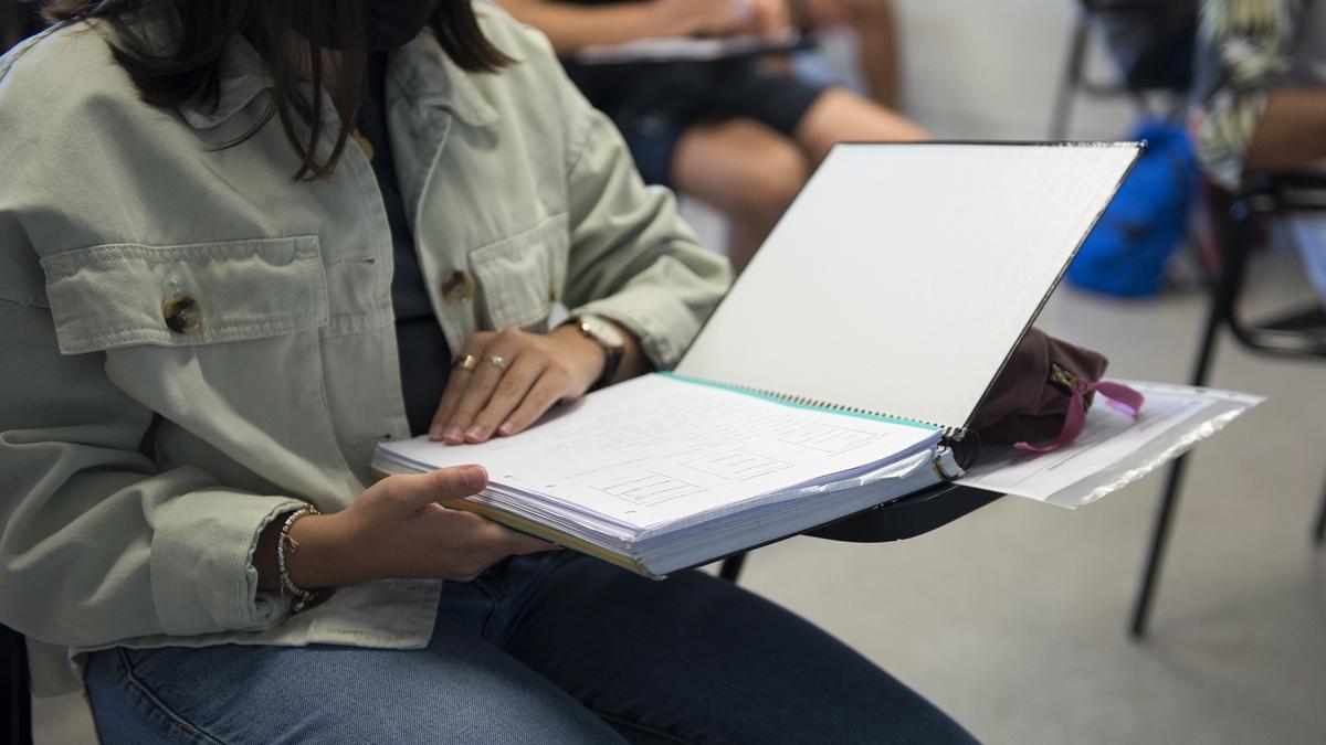 Una estudiante lee sus apuntes.