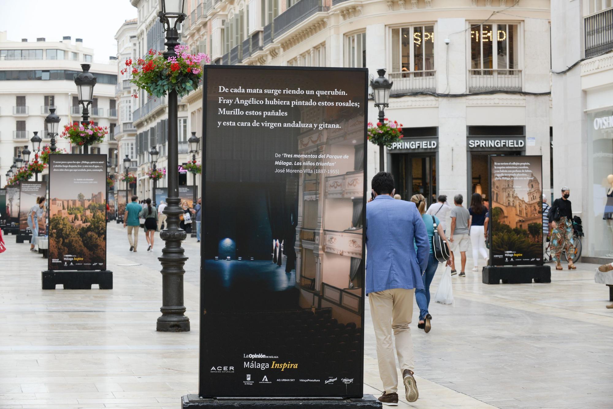 Exposición fotográfica 'Málaga Inspira', en la calle Larios