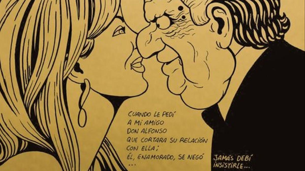 Cartoon from 'Primavera para Madrid', which evokes King Emeritus and Corinna Larsen from fiction.