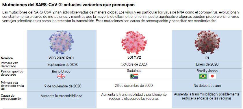 Mutaciones del SARS-CoV-2: actuales variantes que preocupan