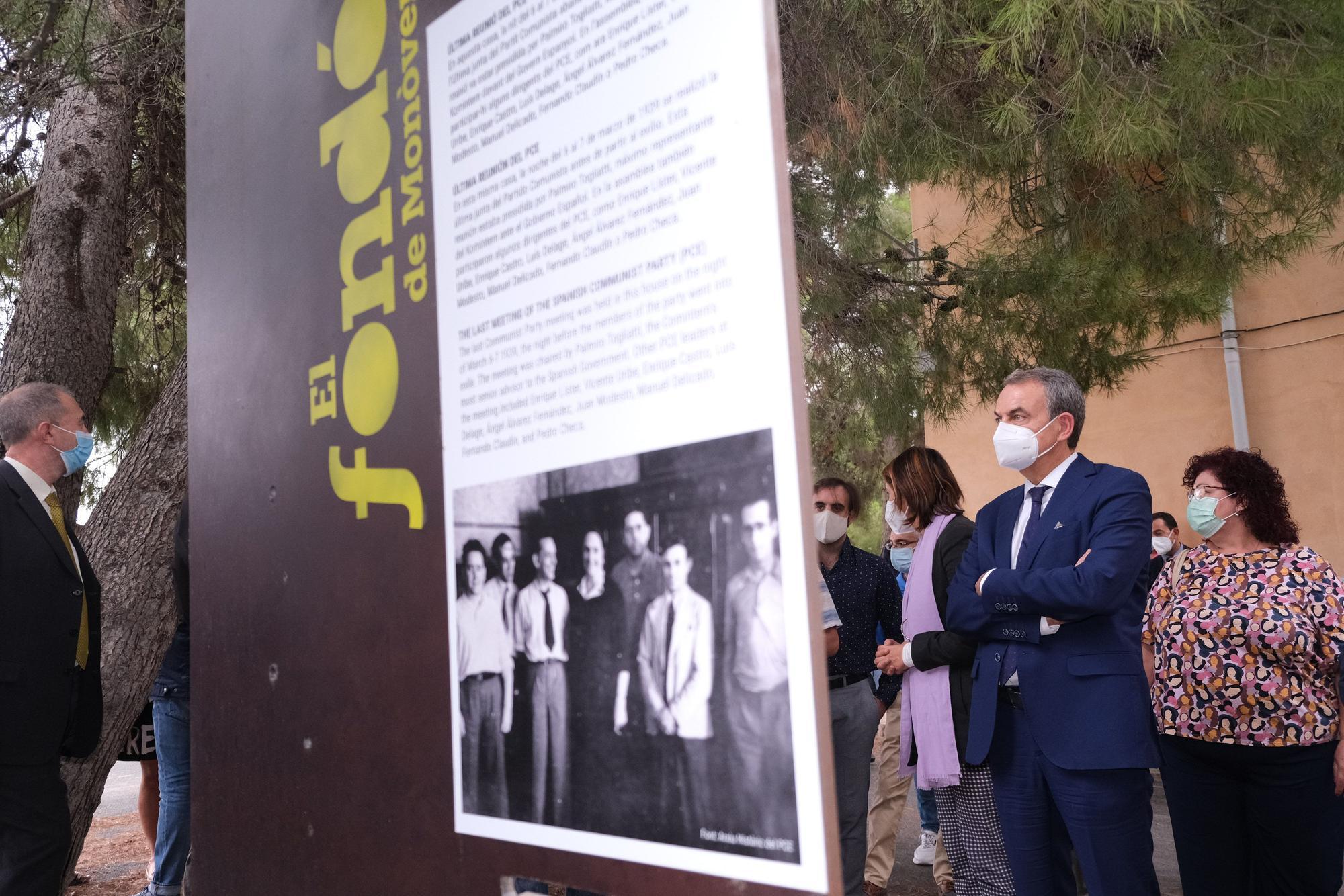 Visita del expresidente Jose Luis Rodríguez Zapatero al Fondó de Monóvar, última sede del gobierno Republicano