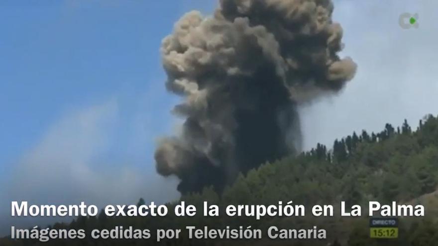 Este es el momento exacto en el que el volcán de La Palma entra en erupción