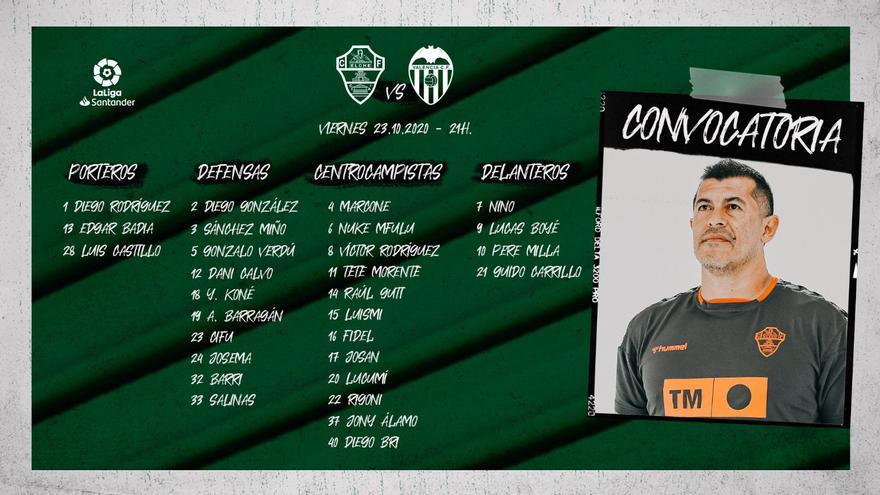 Almirón incluye a 29 jugadores en la primera lista para el Elche-Valencia