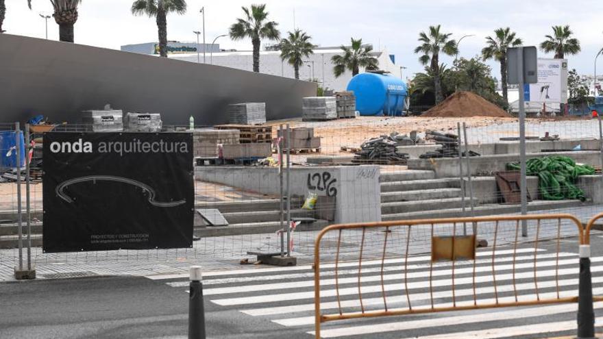 Así estaban en enero las obras de la pasarela Onda Atlántica del Puerto