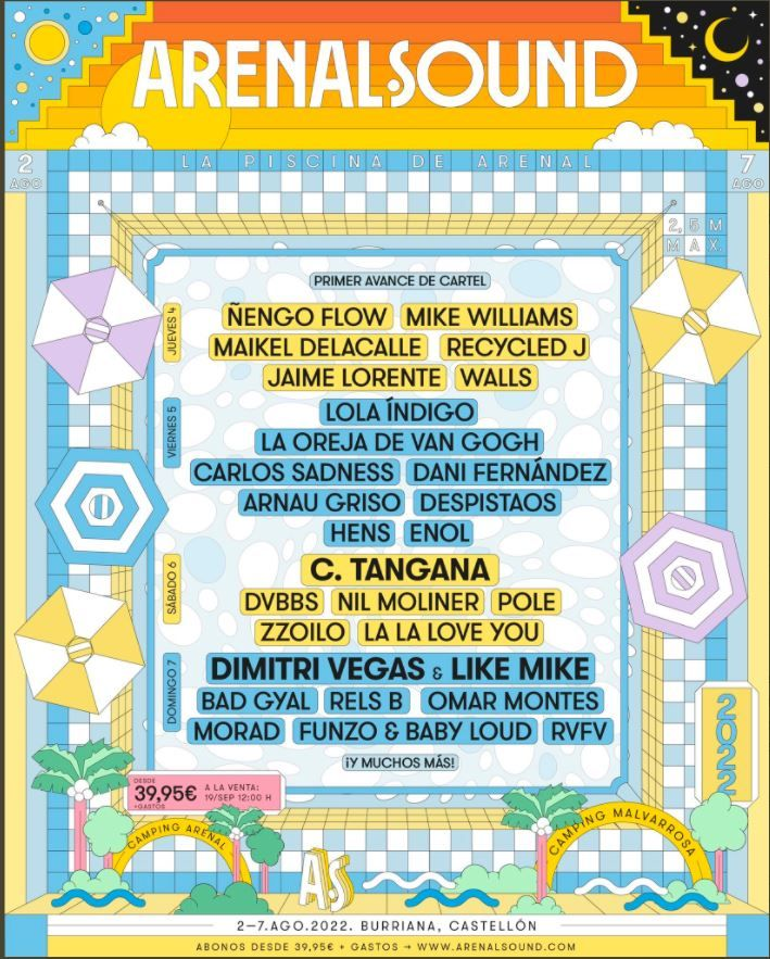 Conciertos en Burriana para el Arenal Sound 2022.