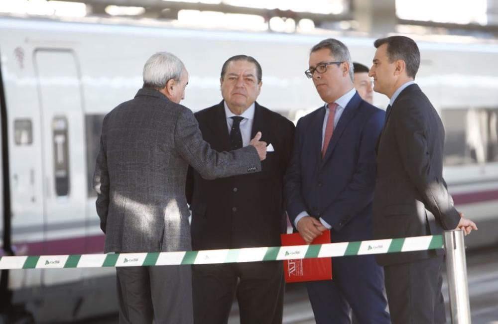 El presidente de la Asociación Valenciana de Empresarios, el naviero Vicente Boluda, antes de partir hacia Castelló en el nuevo AVE.
