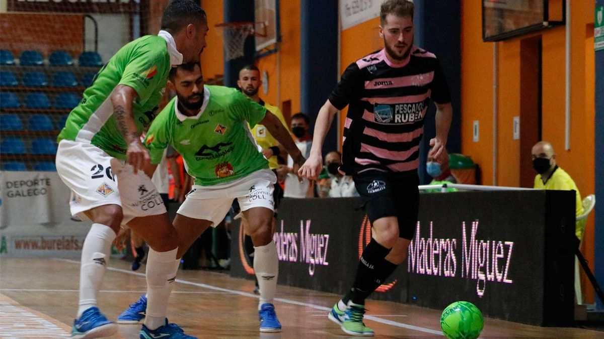 Imagen del partido de ayer entre el Burela y Palma Futsal.
