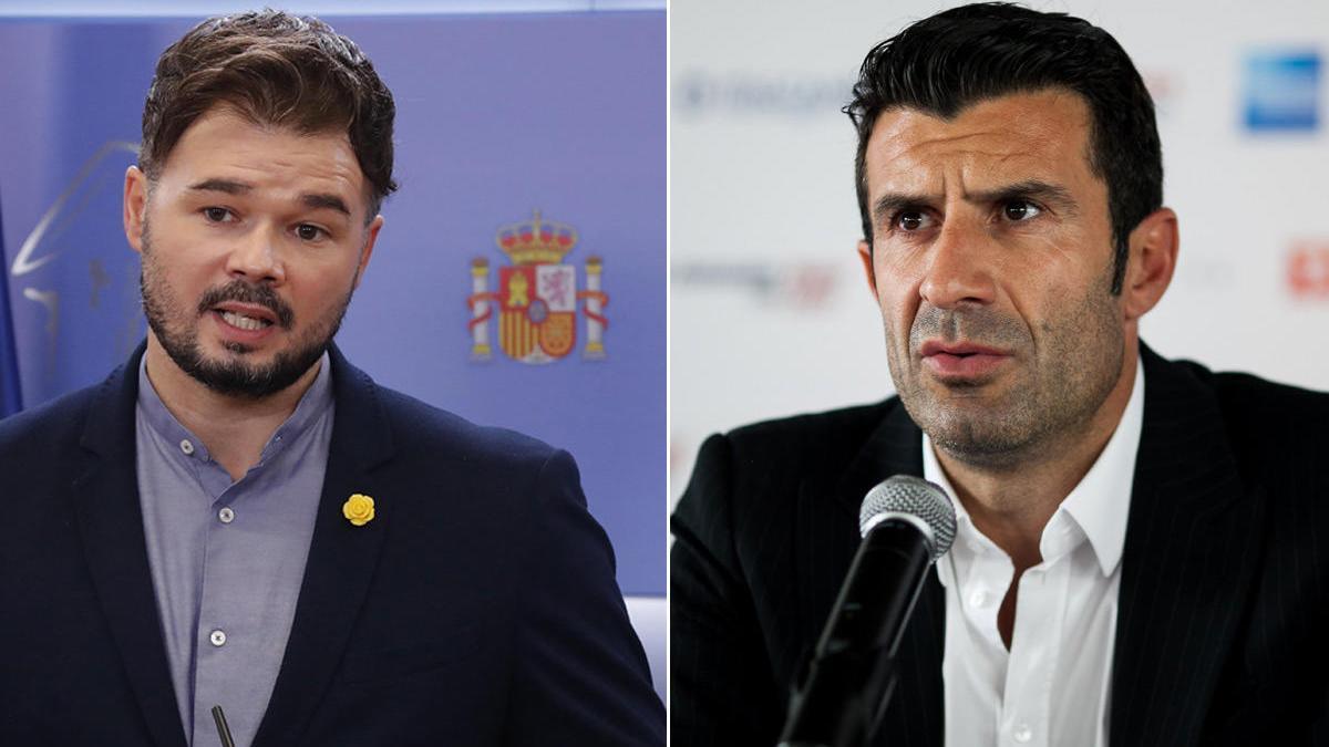 Gabriel Rufián y Luís Figo.