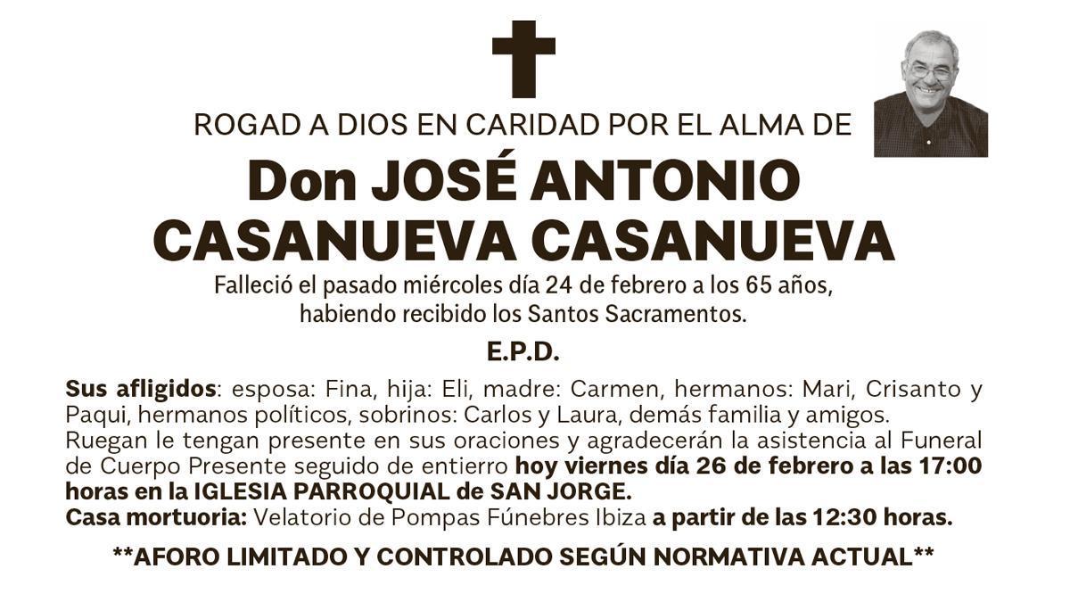 Esquela José Antonio Casanueva Casanueva