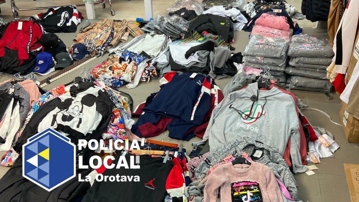 Algunas de las prendas incautadas por la Policía Local de La Orotava.