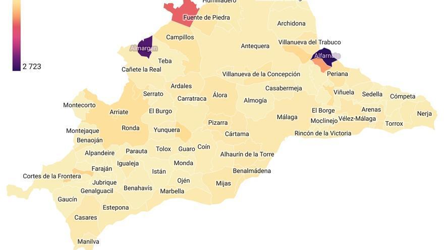 Tasa de incidencia en los municipios de Málaga
