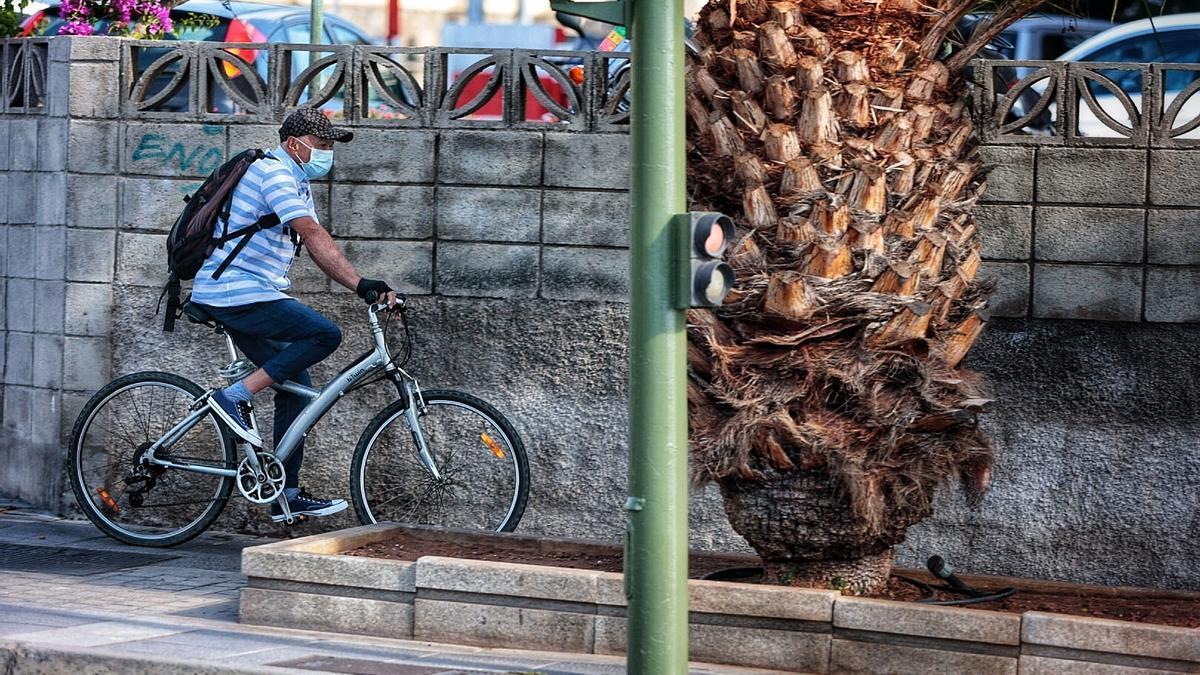 Un hombre circula con su bicicleta en Santa Cruz de Tenerife.