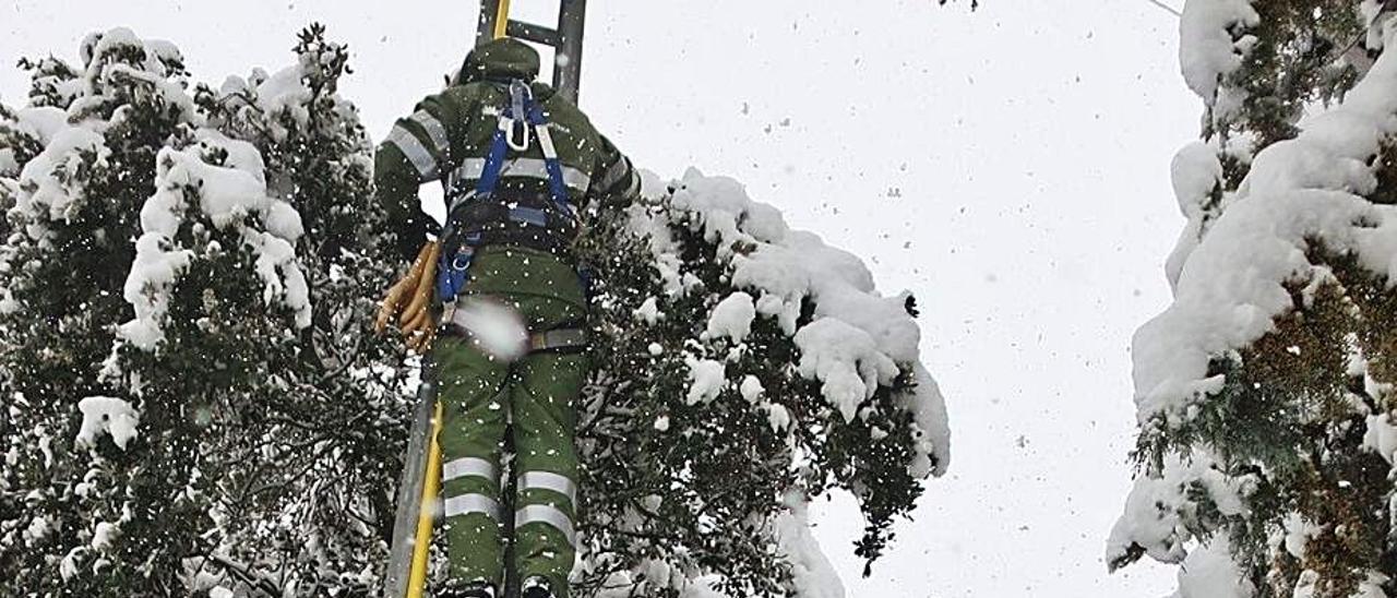 Operarios de Iberdrola trabajan para solucionar problemas de luz por el temporal. |   // IBERDROLA
