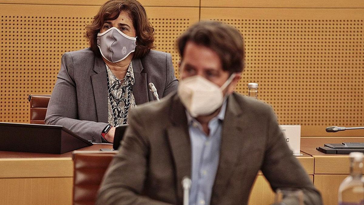 La nueva consejera de CC Juana de la Rosa, en la imagen tras el portavoz, Carlos Alonso, toma posesión. | | MARÍA PISACA